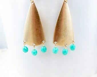 Triangle Chandelier Earrings Geometric Jewelry Gold Triangle Earrings Turquoise Beaded Jewelry