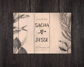 Copper Wedding, Save The Date Cards, Peach Wedding Stationery, Rustic Wood Card, Save The Date Postcard, Personalised Wedding Stationery