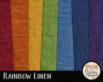 Linen Digital Paper Pack - Rainbow Digital Scrapbook  Paper - Rainbow Linen Background Textures - Linen Paper Pack