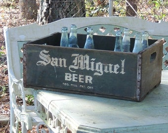 Vintage San Miguel Beer Wooden Crate 18 Compartments Rustic Farmhouse Wedding Decor, Micro Brewery, Home Organizer