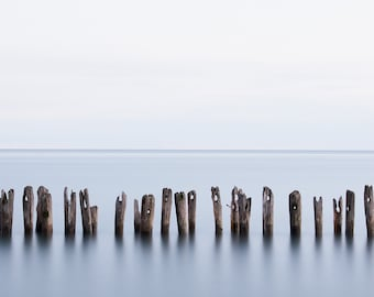 Beach pier photograph of posts. Limited edition seascape photography. Minimalist nautical decor for meditation room. Lake Erie 8x10 print.