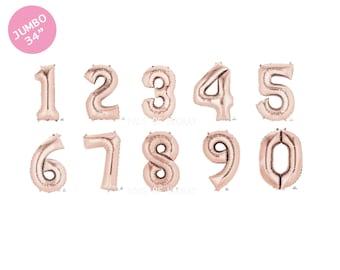 """34"""" Rose Gold Letter & Number balloons - helium fill balloon - mylar foil jumbo giant"""