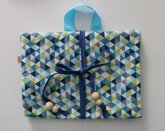 Pouch Fourzitou diaper pouch walk baby tones diaper bag blue green grey triangles and dots patterned
