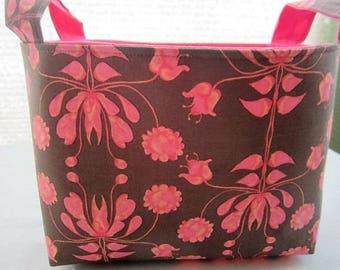 Storage Organizer Basket Container Bin Fabric Bucket - Brown with Pink Flowers