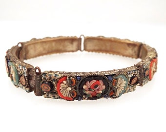 Vintage Micro Mosaic Bracelet R. M. Italy Millefiore Flowers Link Colorful Glass Tile Art Jewelry