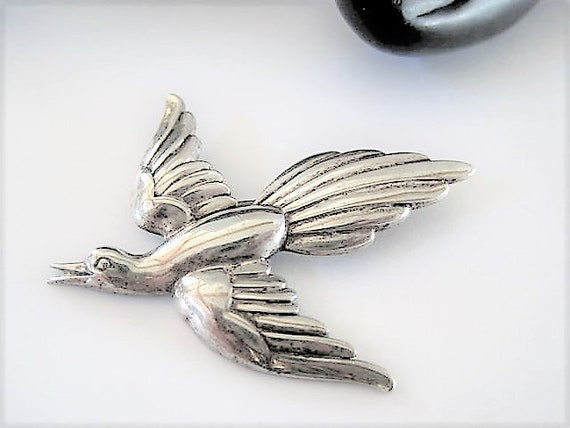 Sterling Bird Brooch, Signed Forstner, Vintage Elegant Bird in Flight, 60s  Pin