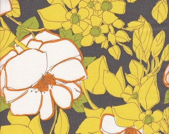 Michael Miller Lulu Floral in Citron and Gray - Half Yard