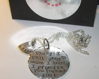 Blended Family Gift, hand stamped jewelry, hand stamped,  personalized jewelry, custom jewelry, step daughter gift, mommy necklace