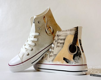 Guitar, Sheet Music, Custom Made Shoes