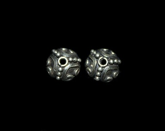 Four x Sterling Silver Bali Bead Caps, 10mm. 4 x Genuine Sterling Silver Bead Caps.  Four 925 Sterling Silver 10mm Bead Caps.