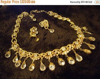 ON SALE Vintage Rhinestone Necklace Earring Set 1950's 1960's Hollywood Regency Mad Men Open Back Demi Parure Collectible Jewelry