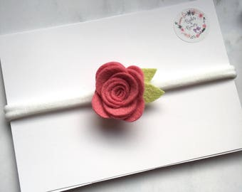 3D Felt Rose Hair Accessory - 53 Colours to Choose From! (headband or clip)