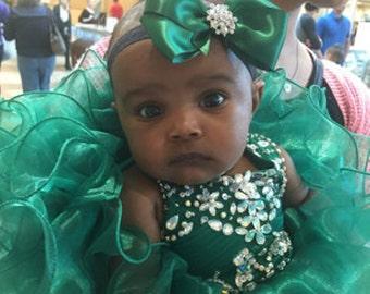 Dark Green Satin Hair Bow with Rhinestone Center, Green Flower Girl Hair Bow, Hair Bow, Christmas Bow, Pageant Bow