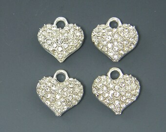 Heart Pendant Bright Silver Clear Rhinestone Pave Jewelry Charm |S12-1|4