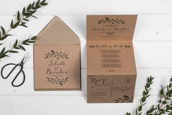 Rustic Wedding Invitation - Woodland Brown Kraft