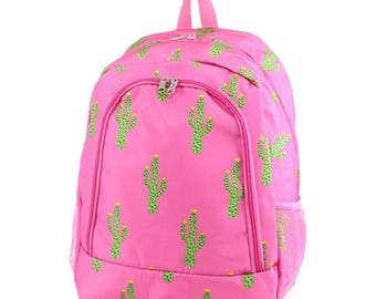 Cactus Monogram Backpack, Personalized Backpack, Monogram Bookbag, Girls Backpack, Pink Backpack, Kids Backpack, School Backpack