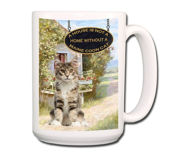 Maine Coon Cat a House is Not a Home Large 15 oz Coffee Mug No 4