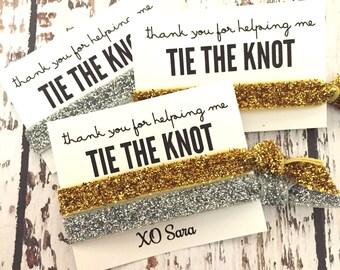 Hair Tie Bridesmaid Gift // Gold Silver Hair Tie Bracelets, Gold Silver Hair Tie, Bridesmaid Gift, Bachelorette Hair Tie Favors