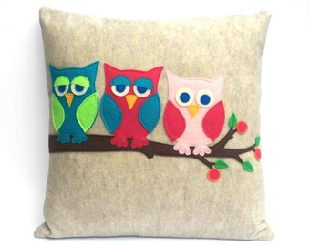 Little Owl Pillow Cover Appliquéd Eco Felt- And Then There Were Three - 18 inches