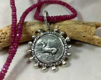 Ancient Greek Pegasus Coin Pendant, Silver ancient coin necklace , Ancient coin Jewelry, Ruby Gemstone strand
