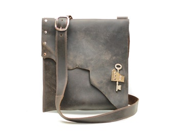 distressed brown leather satchel - urban leather cross body messenger bag - raw edge leather bag with steampunk pirate skeleton key
