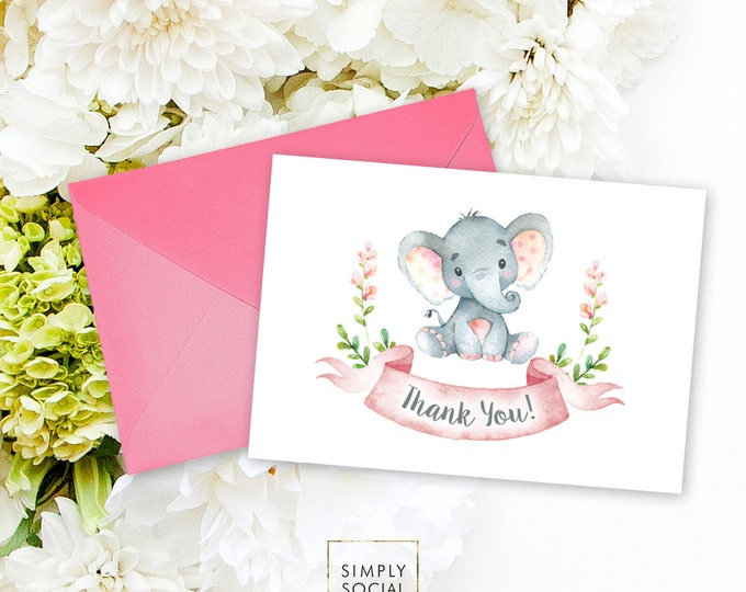 INSTANT DOWNLOAD Elephant Baby Shower Thank You Card Pink Floral Pink Boho Elephant Floral Baby Shower Watercolor Calligraphy Printable