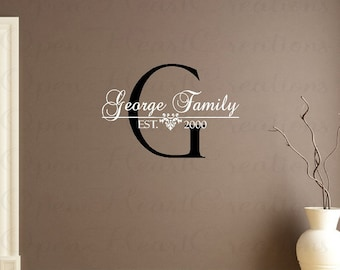 Personalized Family Name Vinyl Wall Decal - Last Name with Established Date - Entry Way Bedroom Living Room Decor 22H x 32W PD0014