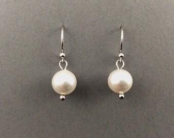 Drop Pearl Earrings With White Swarovski Crystal Pearls