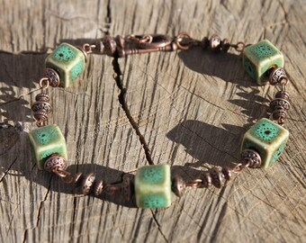 Green Bracelet Beaded Bracelet Ceramic Bracelet Earthy Copper Bracelet Boho Jewelry Boho Bracelet Gift For her Gift for Women