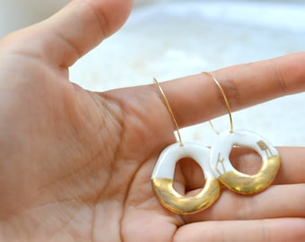 Emba, porcelain and gold earrings, glazed .Porcelain jewelry