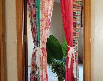 Boho Door Curtains Bohemian Scarf Curtains Hippie Curtains Boho Curtains Gypsy Curtains Closet Door Curtains