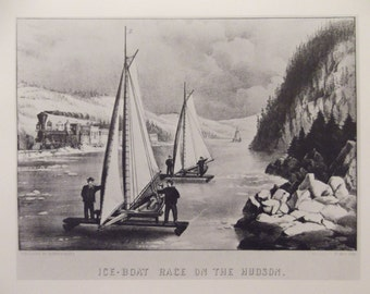 Ice-Boat Race On The Hudson Vintage Currier & Ives Print Christmas In The Country Ready To Frame Additional Prints Ship Free