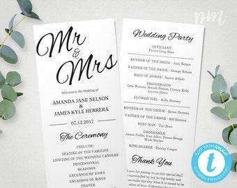 Printable Wedding Program Template Mr & Mrs , Instant Download Ceremony Program, Edit in Our Web App, Clean and Cursive, Tea Length Program