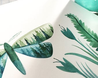 Pine Wings - Watercolor Art Print - 8x10 - pine trees, forest, moth, evening, treeline, nature, north woods