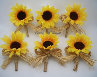 Sunflower Wedding Boutonniere, Groomsmen Lapel Bloom, Rustic Buttonhole Flower with Burlap, 1 Lapel Pin