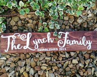 Family Established wood signs, Personalised Family Name Sign, Family sign, Custom Family Sign, Wedding gift, Anniversary gift, New Home gift