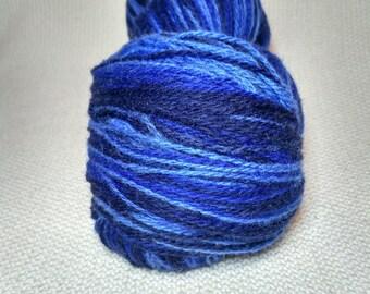 KAUNI Wool Yarn Effektgarn, Self-Striping Yarn, Dark Deep Blue, Blue, Sky Blue