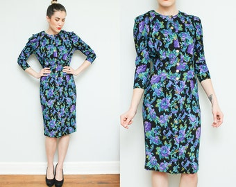 Purple Green Floral Dress // Gold Button Down 3/4 Sleeve Hourglass Secretary Midi Dress
