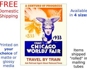 Art Deco Print / Poster - 1933 Chicago Worlds Fair - Vintage Art Deco Print (187186758)