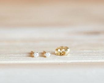 tiny stud earrings gold, tiny gold earrings, diamond white gemstone earrings, 2mm CZ gem, 14k yellow gold stud earring, gold cartilage stud