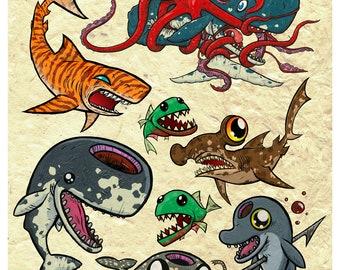 Sea Life Flash Sheet 11 x 14 Print