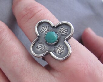 Hand Stamped Turquoise Sterling Silver Ring One Of A Kind Size 7 1/2