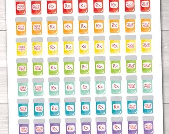 Printable Pill Bottle Planner Stickers Instant Download Printable Sticker PDF Refill Meds Pick Up Meds Pill Tracker