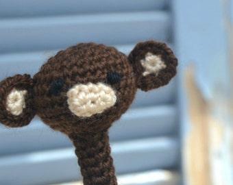 Amigurumi monkey pencil topper, crochet animal head pencil cozy