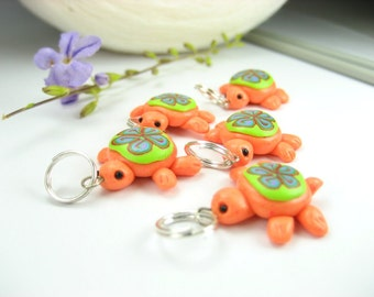 Orange Turtle Stitch Markers 5x knit knitting accessories cute polymer clay miniature animal gift for knitters for her charms kawaii