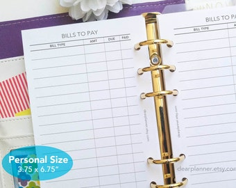 PRINTED Bill payment tracker - Bills checklist insert - Finance checklist - Bills planner insert - PERSONAL size insert - P05