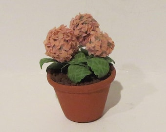 Miniature Potted Pink Hydrangea's 1:12 Scale