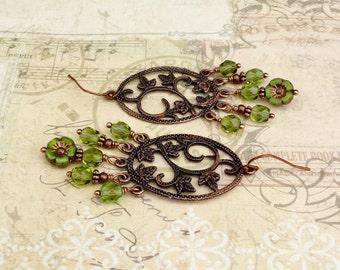 Green Earrings, Olive Green Earrings, Chartreuse Earrings, Flower Earrings, Copper Earrings, Czech Glass Beads, Copper Leaf Earrings, Gifts