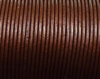 Cord leather rust colored metallic Ø 1.5 mm roll of 100 m