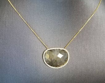 Charm Silver Layering Necklace oval Labradorite Stone Pendant Gold Plated Chain Statement oval Necklace Boho Anniversary gift for her choker